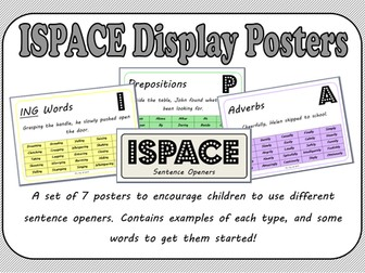 ISPACE Sentence Openers Display Sheets