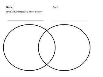 Use a Venn diagram to sort 2D shapes