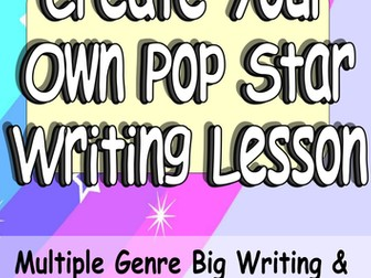 KS2 English: Engaging Pop Star Creative Writing or Big Writing Lesson VCOP + Audience Purpose Genre