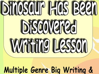 A New Dinosaur Fun Creative Writing or Big Writing Lesson VCOP + Audience Purpose Genre