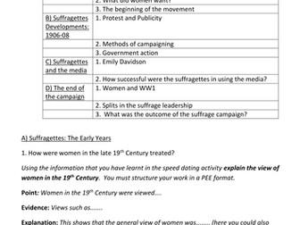 The Suffragette Movement- KS4