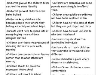 Persuasive Writing - school uniform