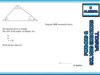 GCSE Mathematics Grade C Algebra revision cards