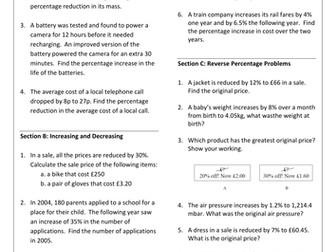 Percentages GCSE Revision Worksheet