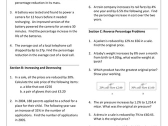 Percentages GCSE Revision Worksheet