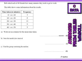 GCSE Mathematics Grade C Handling data revision cards