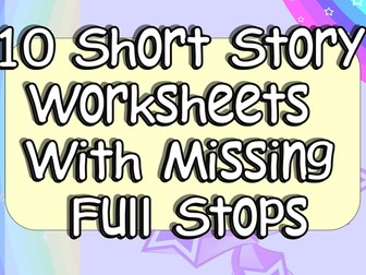 Adding Full Stops Practice 10 Worksheets KS1 or KS2 EAL or SEN