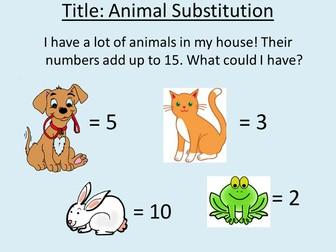 Algebra Zoo - fun substitution worksheet