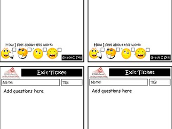 Quick Exit Ticket Template for AfL