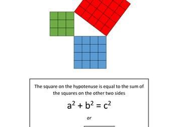 Maths KS3 KS4  Pythagoras' Theorem. Quiz, assessments, worksheets, presentation + differentiation.