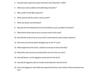 Arab Israeli Conflict Video Worksheet - The Line of Fire - Six Day War