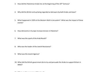 Arab Israeli Conflict Video Worksheet - The Birth of Israel Video Documentary