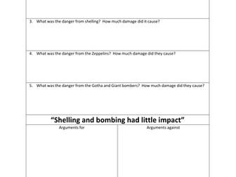 British Home Front in WW1 - Shelling and Bombing - Flippedlearning video and worksheet