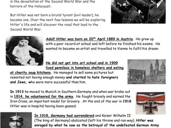 Introduction to Adolf Hitler and The Second World War (Early life timeline of events)