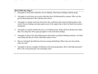 PSHCE Discussion Activities - Bullying. Updated