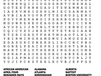 Martin Luther King Jnr Word Search