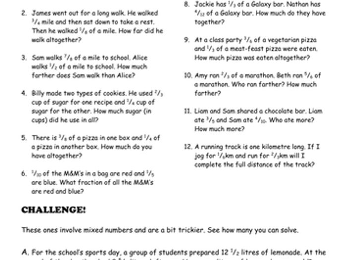Fraction Problem Solving Worksheets 3rd grade math worksheets – Fractions Word Problems Worksheets