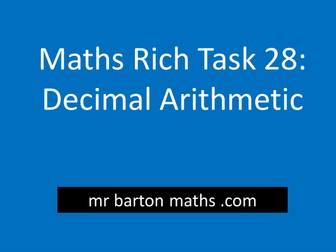 Rich Maths Task 28 - Decimal Arithmetic