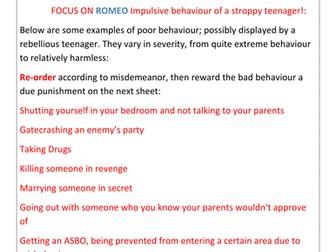 Romeo and Juliet: Focus on Romeo