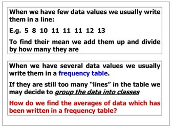 Averages from Frequency Tables