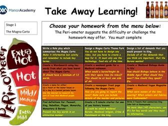 Various Take away homeworks