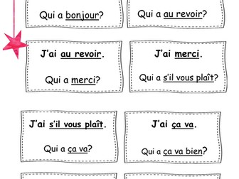 French: the basics Follow Me Cards 'I have Who has'