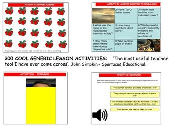 300 generic activities.  Create lessons in seconds!