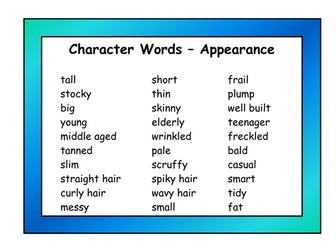 Character Adjective Resource Pack