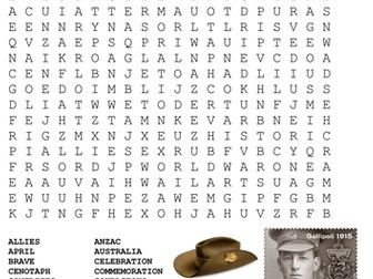 ANZAC Day Word Search and Crossword