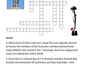 ANZAC Day Crossword