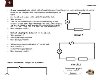 Practical exercise - Simple Circuits