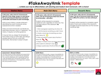 TakeAway Homework Template by @TeacherToolkit