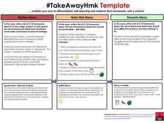 TakeAway Homework Template by @TeacherToolkit