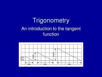 Maths KS3 or KS4 revision.  Trigonometry; introduction to tangent ratio using similar triangles.