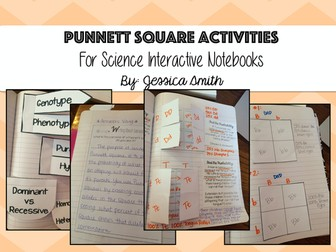 Punnett Square Activities for Science Interactive Notebooks