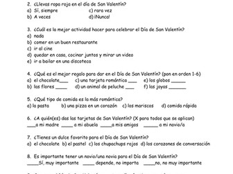 Valentines Day Survey -Spanish