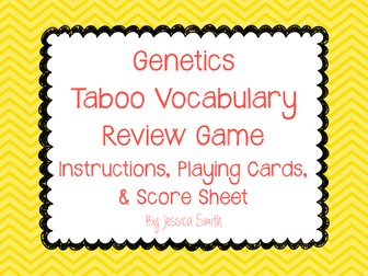 "Genetics ""TABOO"" Vocabulary Review Game"