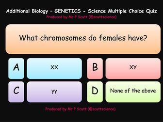 Genetics multiple choice quiz