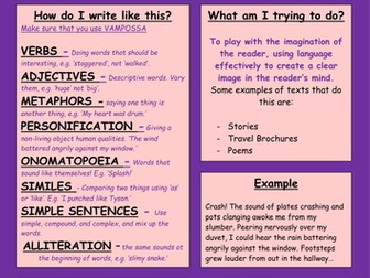 Writing Purposes - Helpsheets/Posters for Literacy and English