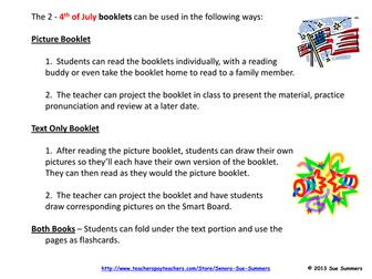4th of July Emergent Reader Booklets and Presentation