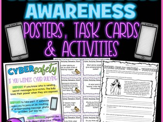 Cyber Bullying Awareness: Posters, Task Cards & Activities