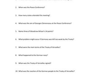 Treaty of Versailles and its impact flipped learning video and worksheet
