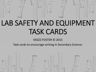 Lab Safety and Equipment Writing Task Cards