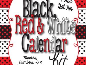 Polka Dot - Black, Red and White Calendar Kit