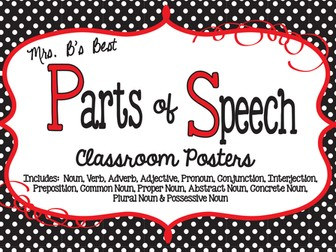 Parts of Speech Classroom Posters in Black, Red and White Polka Dots