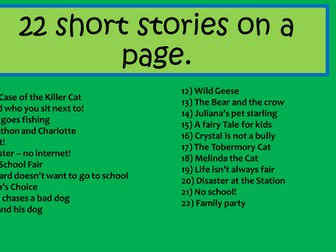 Mini short stories wtih exercises.