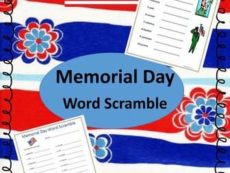 Memorial Day Word Scramble