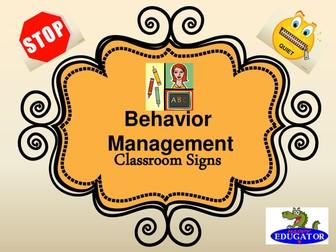 Back to School Behavior Management Behavior Signs