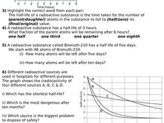 Radioactive Half Lives