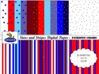 Patriotic Digital Paper - Stars and Stripes - Great for July 4th